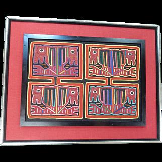Framed Vintage Kuna Indian Mola Textile / Folk Art Panama