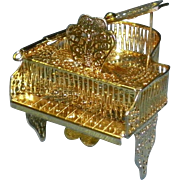Miniature Gold Metal Filigree Dollhouse Grand Piano