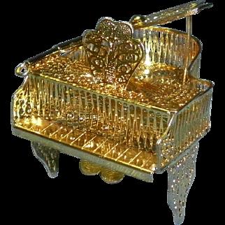 Miniature Gold Metal Filigree Dollhouse Grand Piano