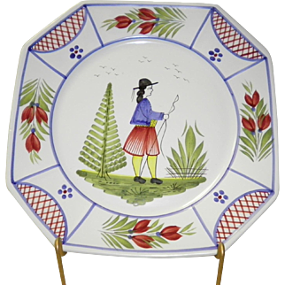 "Henriot Quimper 10"" Square Dinner Plate"