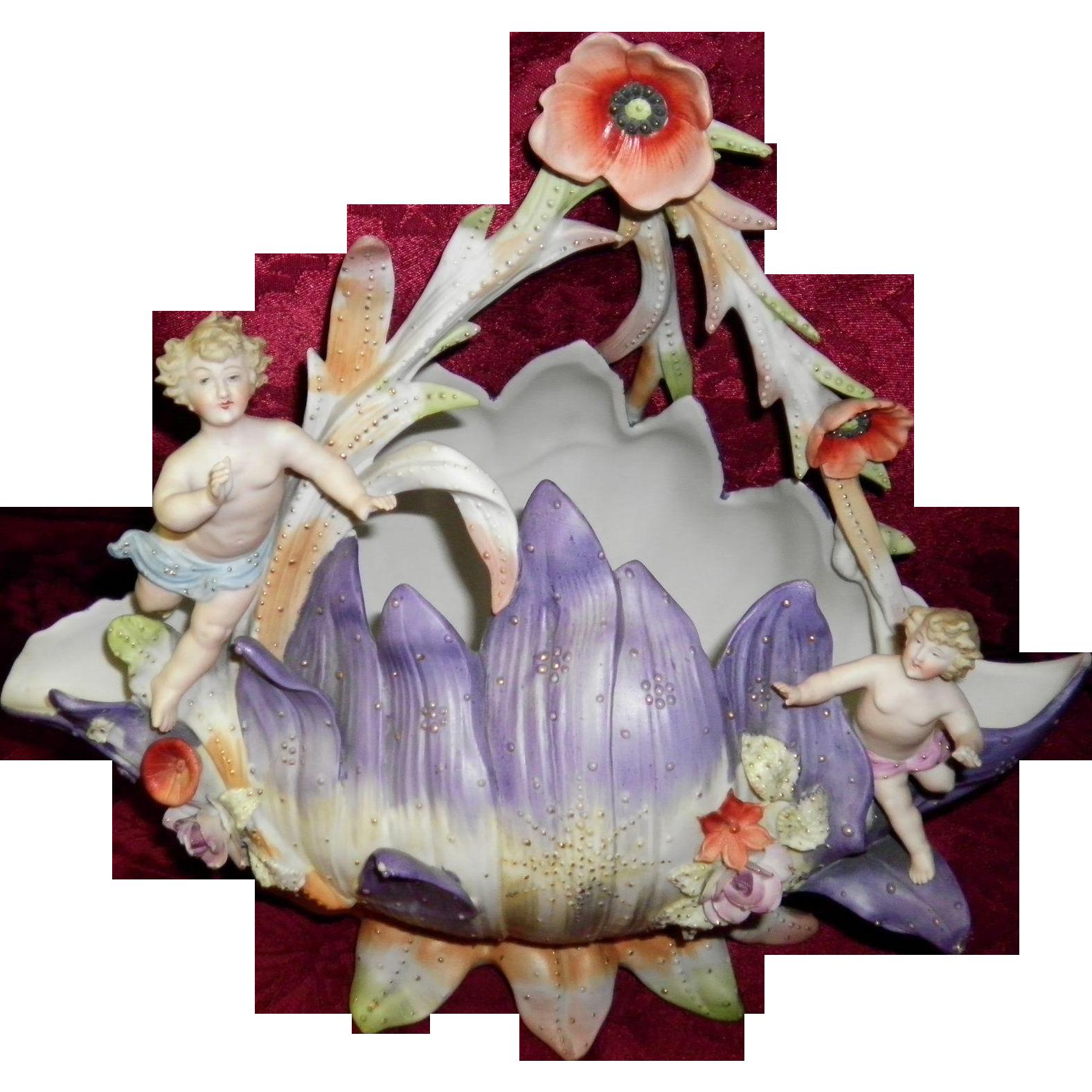 Early German Bisque Cherubs On Flower Petals