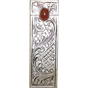 Vintage 800 Silver Lipstick Holder Case With Mirror And Carnelian Stone
