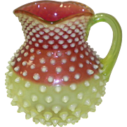 Hobbs Rubina Verde Opalescent Vaseline and Cranberry Glass Pitcher