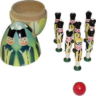 Vintage Polish Soldier Nesting Egg Bowling Game