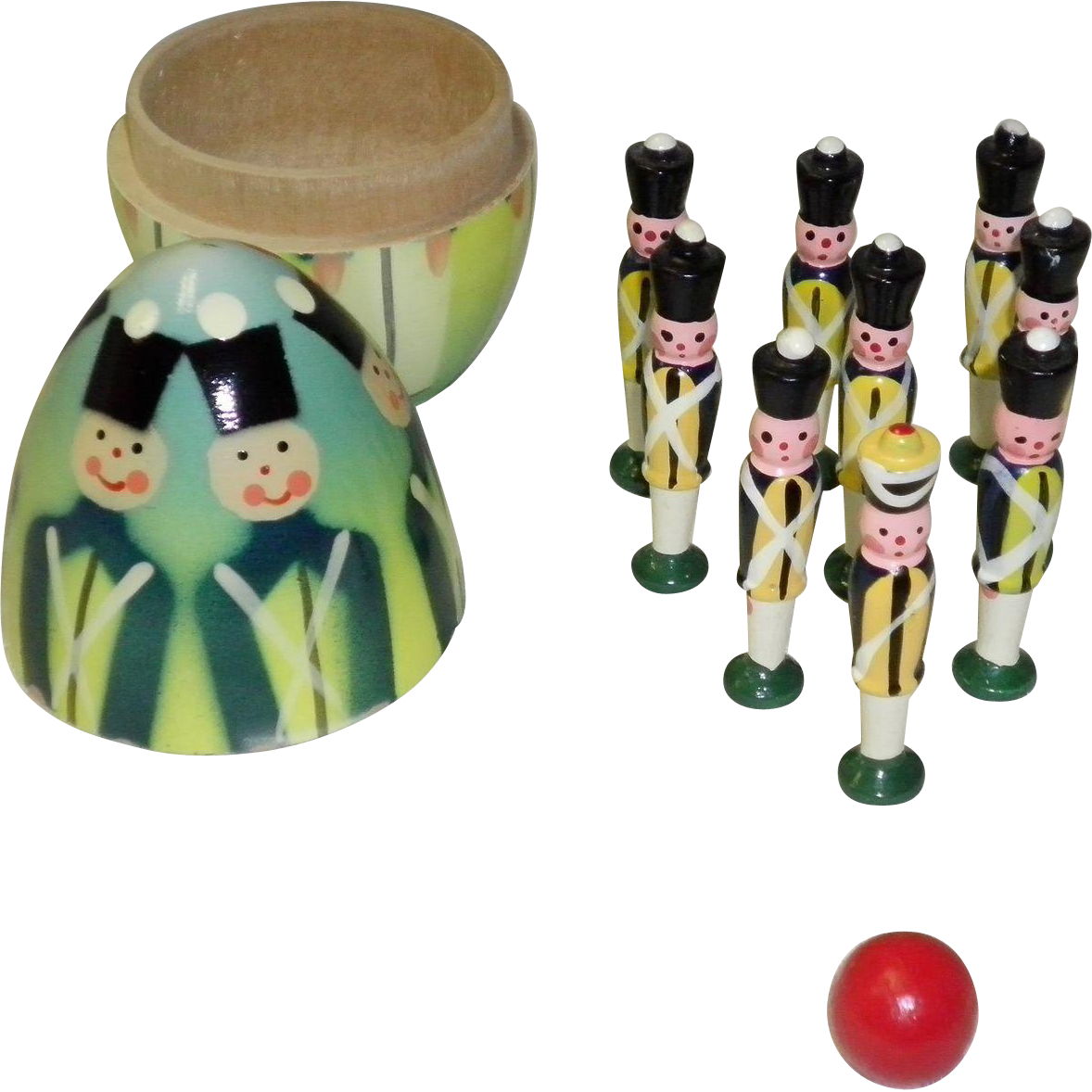 Vintage Polish Soldier Nesting Egg Bowling Game