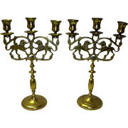 Set Of 2 Vintage Judea Sabbath Brass Lion Candelabra's / Triple Candlestick Holders