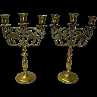 Set Of 2 Vintage Judea Sabbath Brass Lion Candelabra's / Triple Candlestick Holders