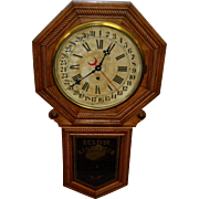 Antique New Haven Eclipse Regulator Wall Clock