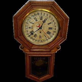 Antique New Haven Eclipse Regulator Wall Clock