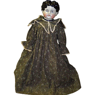 """Antique Porcelain / China Head 17"""" Doll With Original Clothing"""