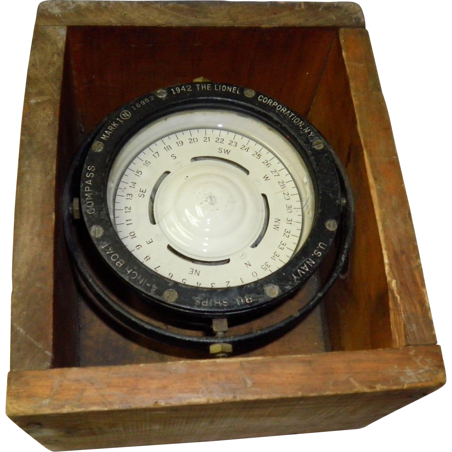 "WWII U.S. Navy Mark 1 16963 4"" Boat Compass Lionel Corp"