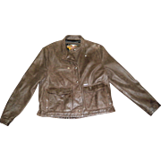 Women's Brown Leather Harley Davodson Motorcycle Jacket Size Large