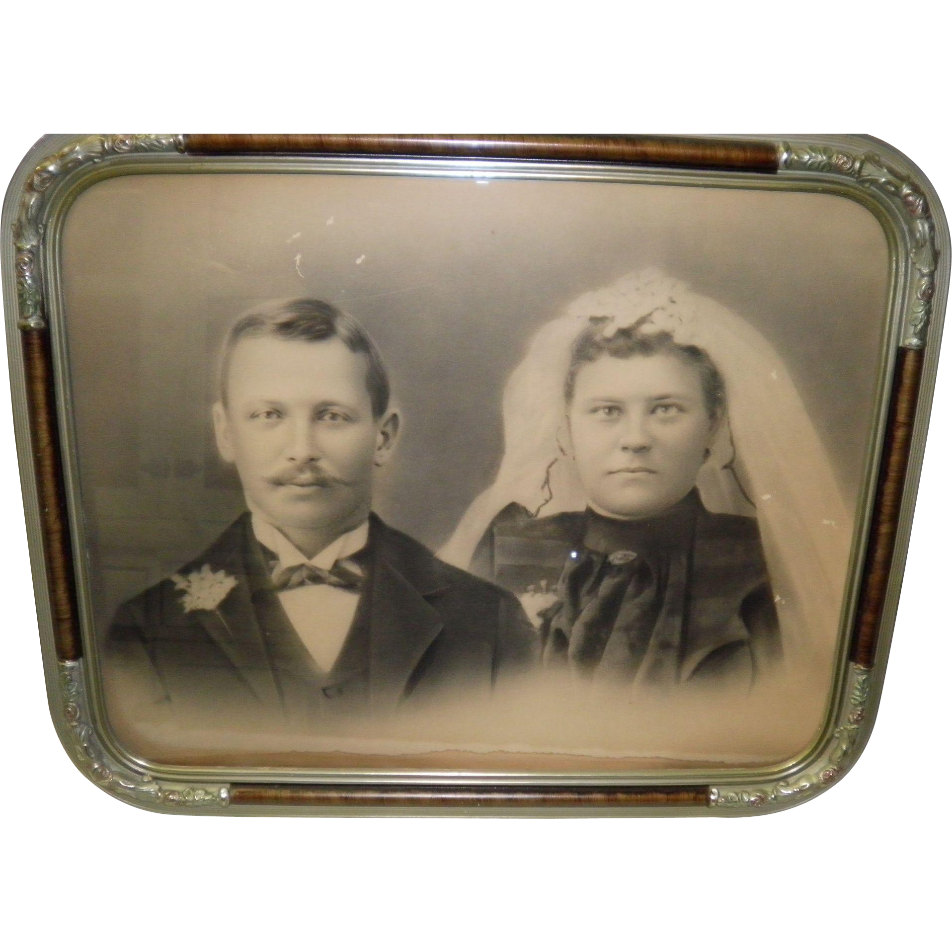Antique Framed Wedding Couple Picture