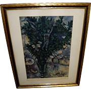 """Marc Chagall """"The Lovers"""" Framed 1955 Print"""