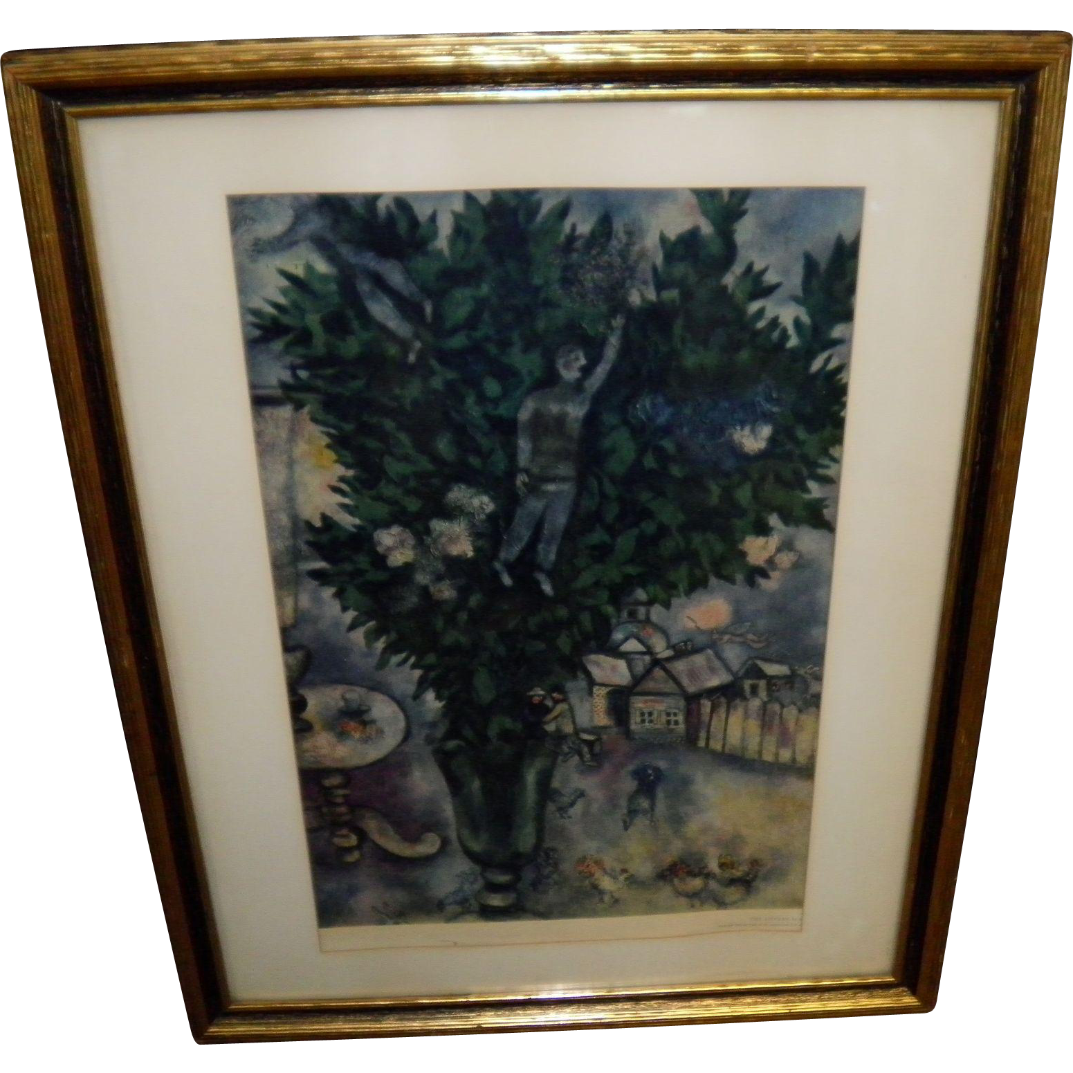 "Marc Chagall ""The Lovers"" Framed 1955 Print"
