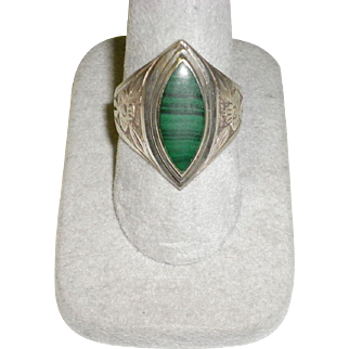 Men's Sterling Silver Malachite Ring