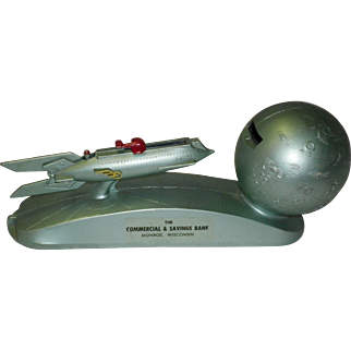 Vintage 1950s Strato Rocket Space Ship & Moon Mechanical Advertising Bank