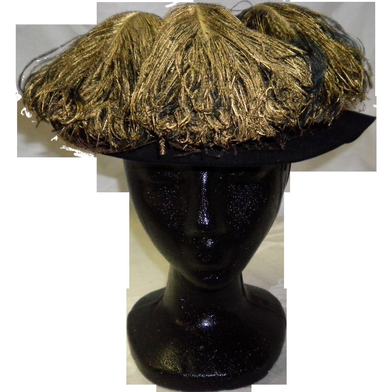 Vintage Black Felt Hat With Feathers By John Frederics
