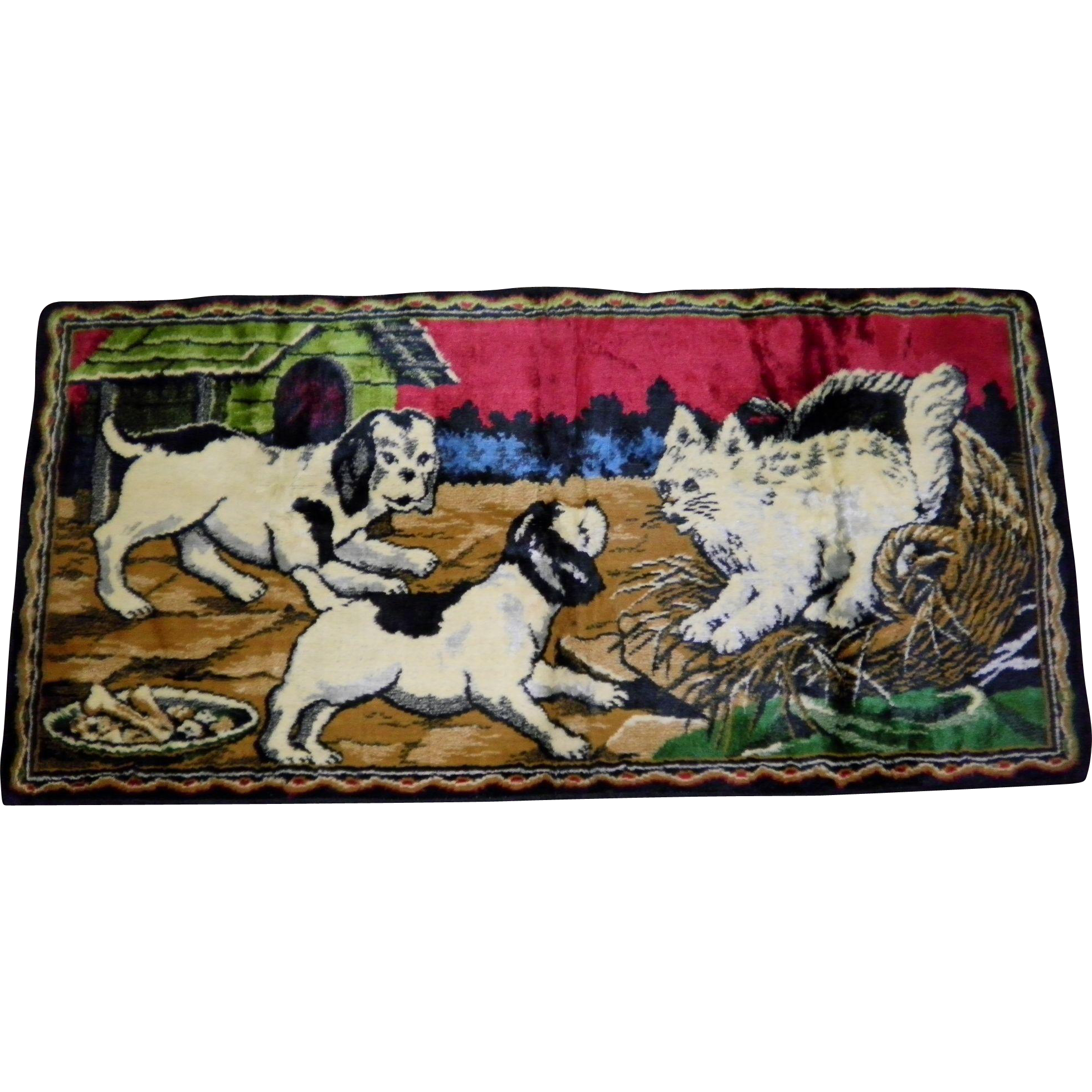Vintage Dogs & Cat Wall Tapestry Made in Italy