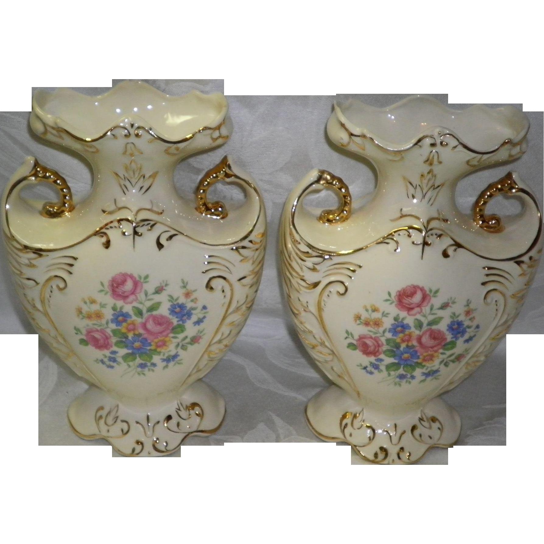 Set OF 2 Vintage Mantle Vases By Paul's Gifts