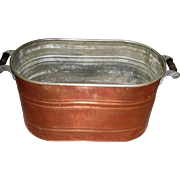 Primitive Revere Copper Boiler Wash Tub Basin With Wood Handles