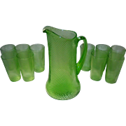 Set of 11 Federal Optic Swirl Vaseline Glass Pitcher and 10 Glasses