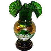 Czech Emerald Green Egermann Crystal Vase