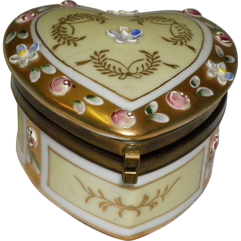 Porcelain Heart Shaped Hinged Ring / Trinket Box Japan