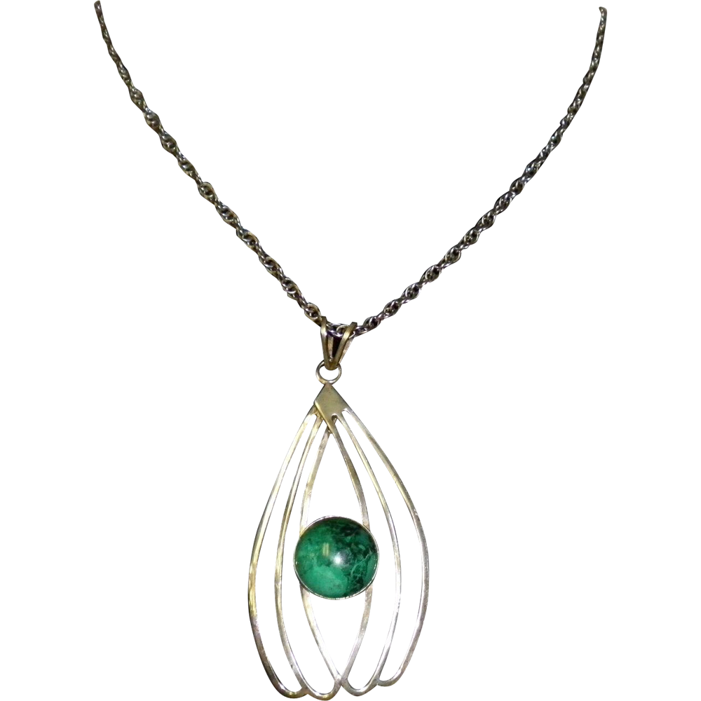 Sterling Silver and Turquoise Pendant Necklace Made In Israel