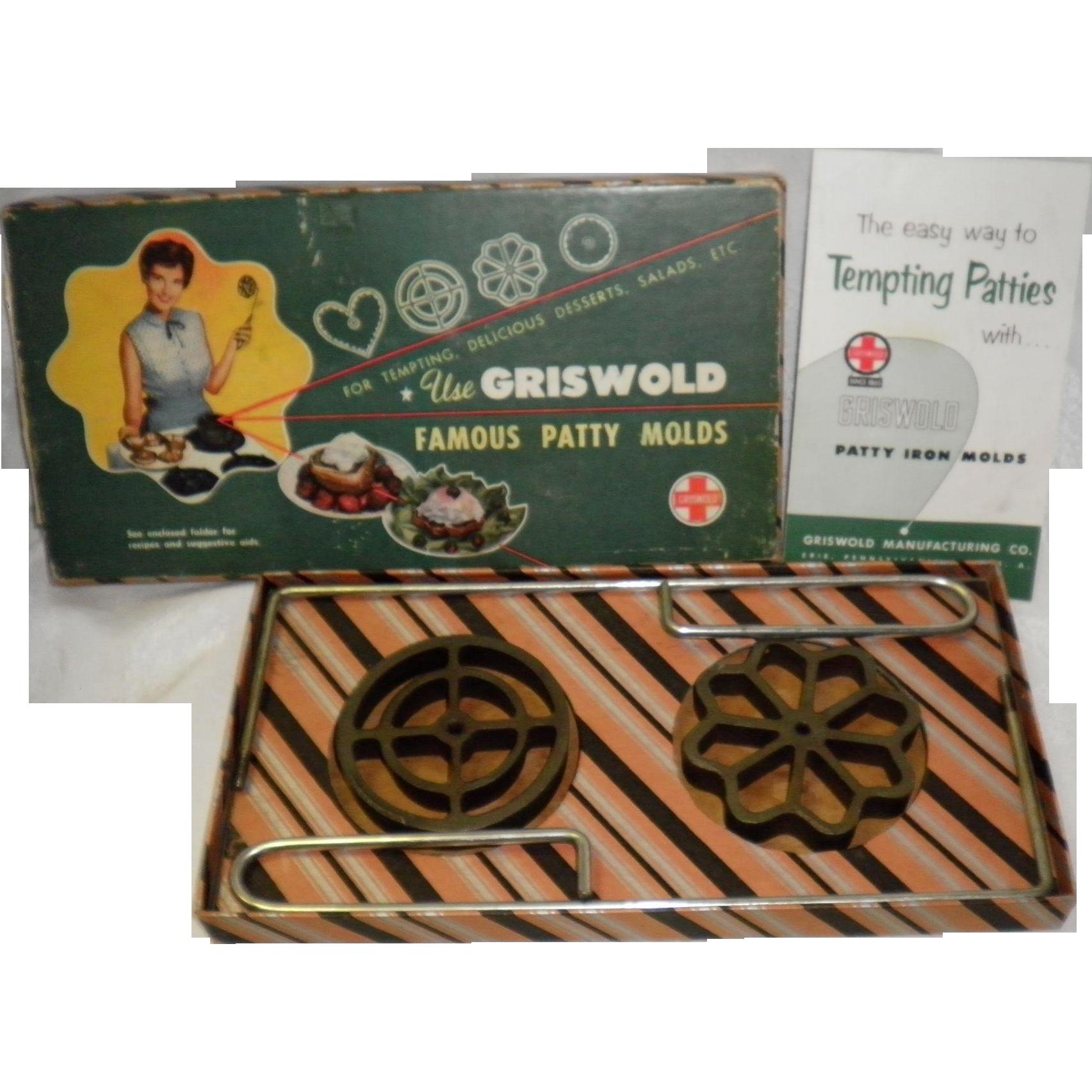 Vintage Griswold Cast Iron Patty Molds Set #1, Original Box, Rosette & Circle
