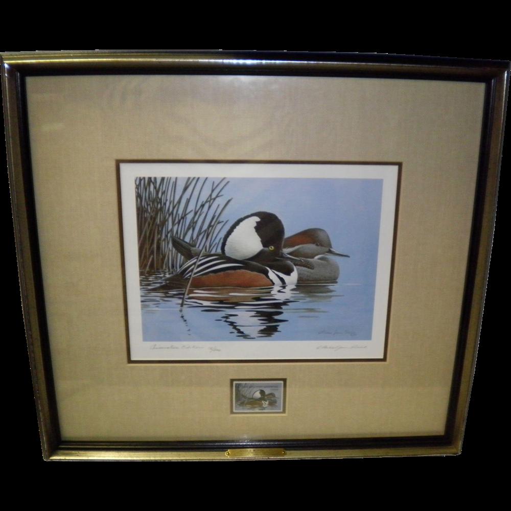 1984 Hooded Mergansers Framed Print and Duck Stamp Signed Michael James Riddet 12/200