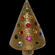 Vintage Rhinestone Christmas Tree Pin / Brooch Signed Corocraft