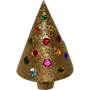 Vintage Rhinestone Christmas Tree Pin / Brooch Signed Corocraft