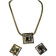Avon Square Cut Lead Crystal Necklace and Clip-On Earrings