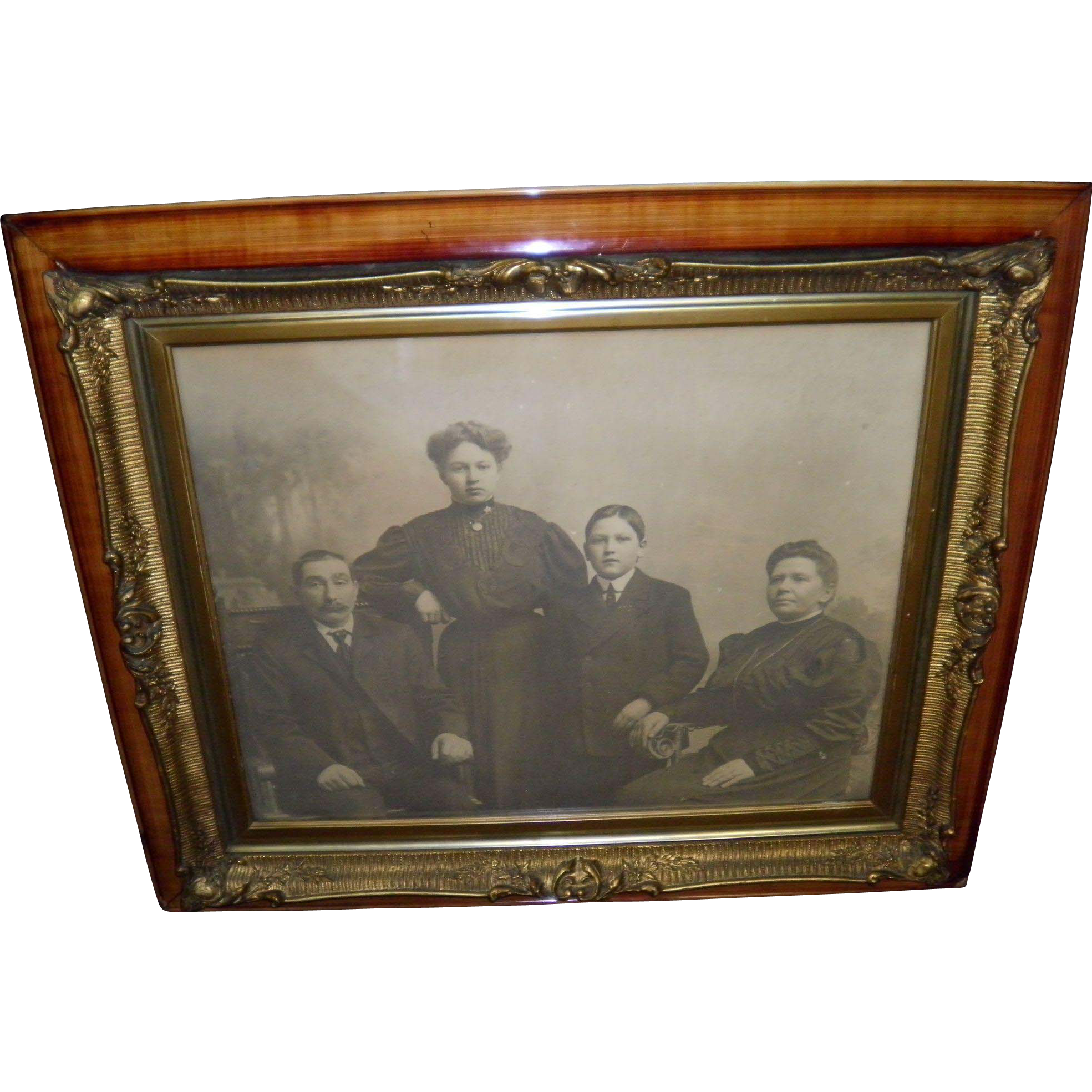 Antique Family Portrait In A Victorian Frame