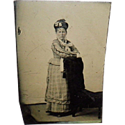 Antique Tintype Of a Woman Resting Arms On The Back Of a Chair