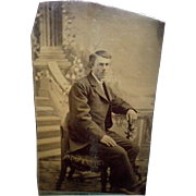 Antique Tintype of a Man Sitting in a Chair