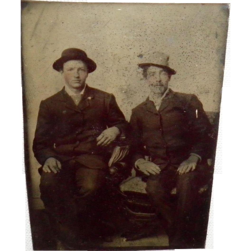 Antique Tintype Of Two Gentlemen