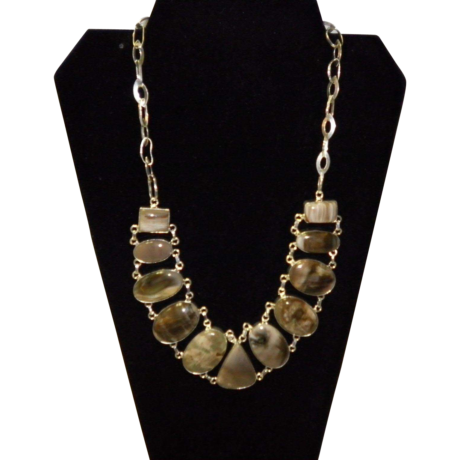 Sterling Silver and Brown Agate Necklace