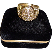Vintage North American Hunting Club Sterling Silver Vermeil Diamond Ring