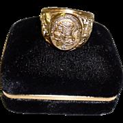 Vintage North American Hunting Club Sterling Silver Vermeil Diamond Ring
