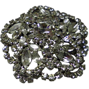 Large Clear 3 D Rhinestone Pin Brooch
