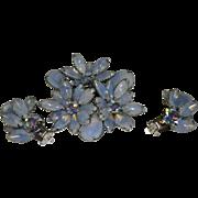 Periwinkle Rhinestone Pin Brooch With Clip-On Earrings