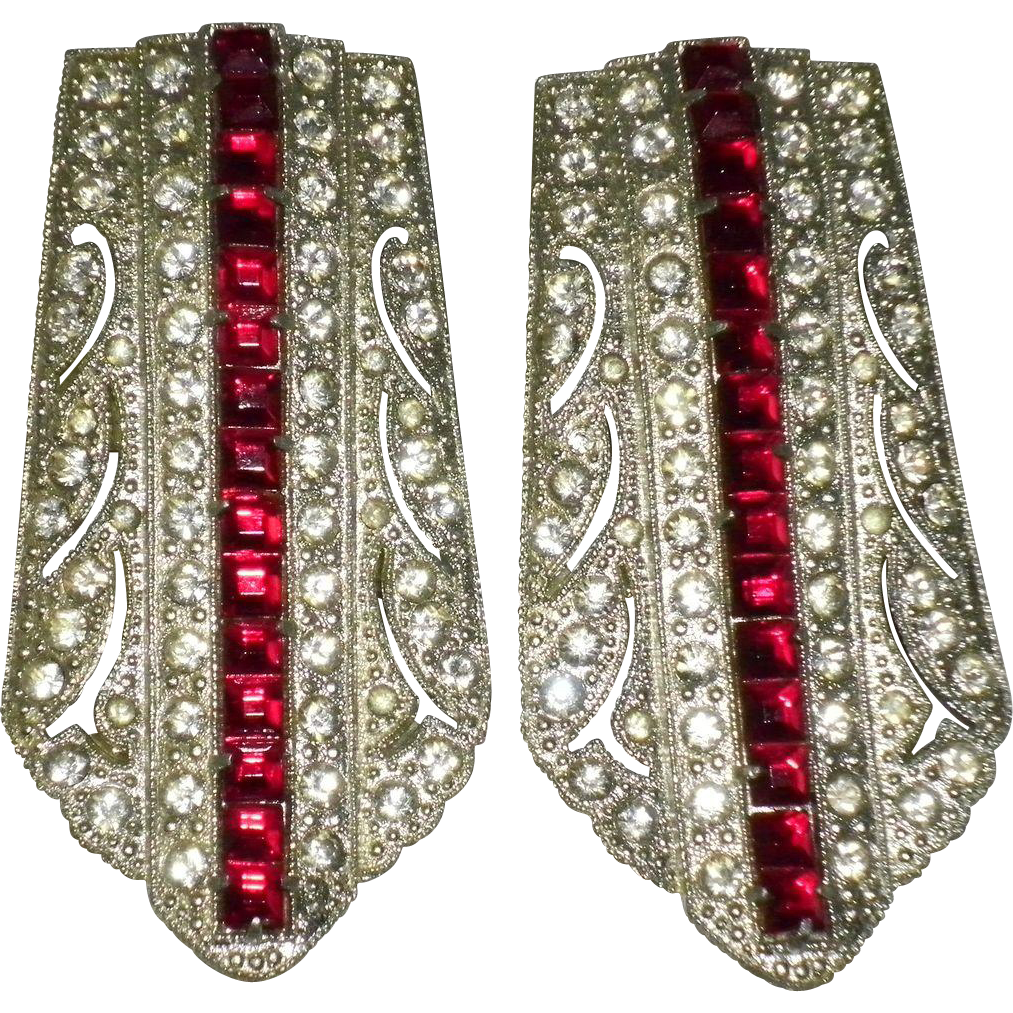 Pair of Art Deco Clear and Red Rhinestone Dress Clips