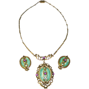 Vintage Necklace and Clip-On Earrings Set