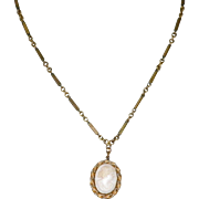 10K Pink Shell Cameo Necklace with Seed Pearls