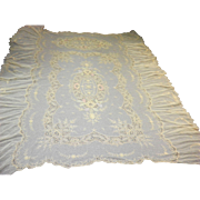 "Antique Embroidered Lace Coverlet Bed Cover Tablecloth 55"" x 100"""