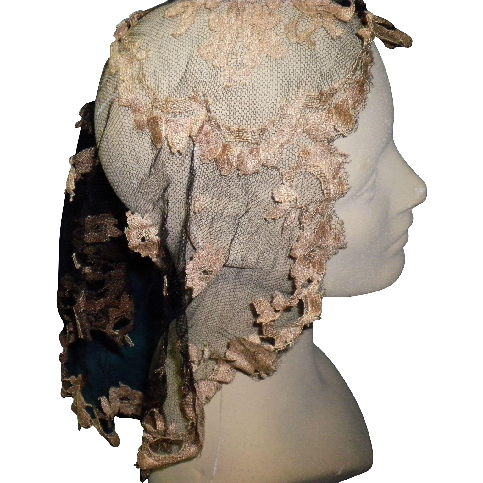 Victorian Mourning Lace Head Cover Scarf