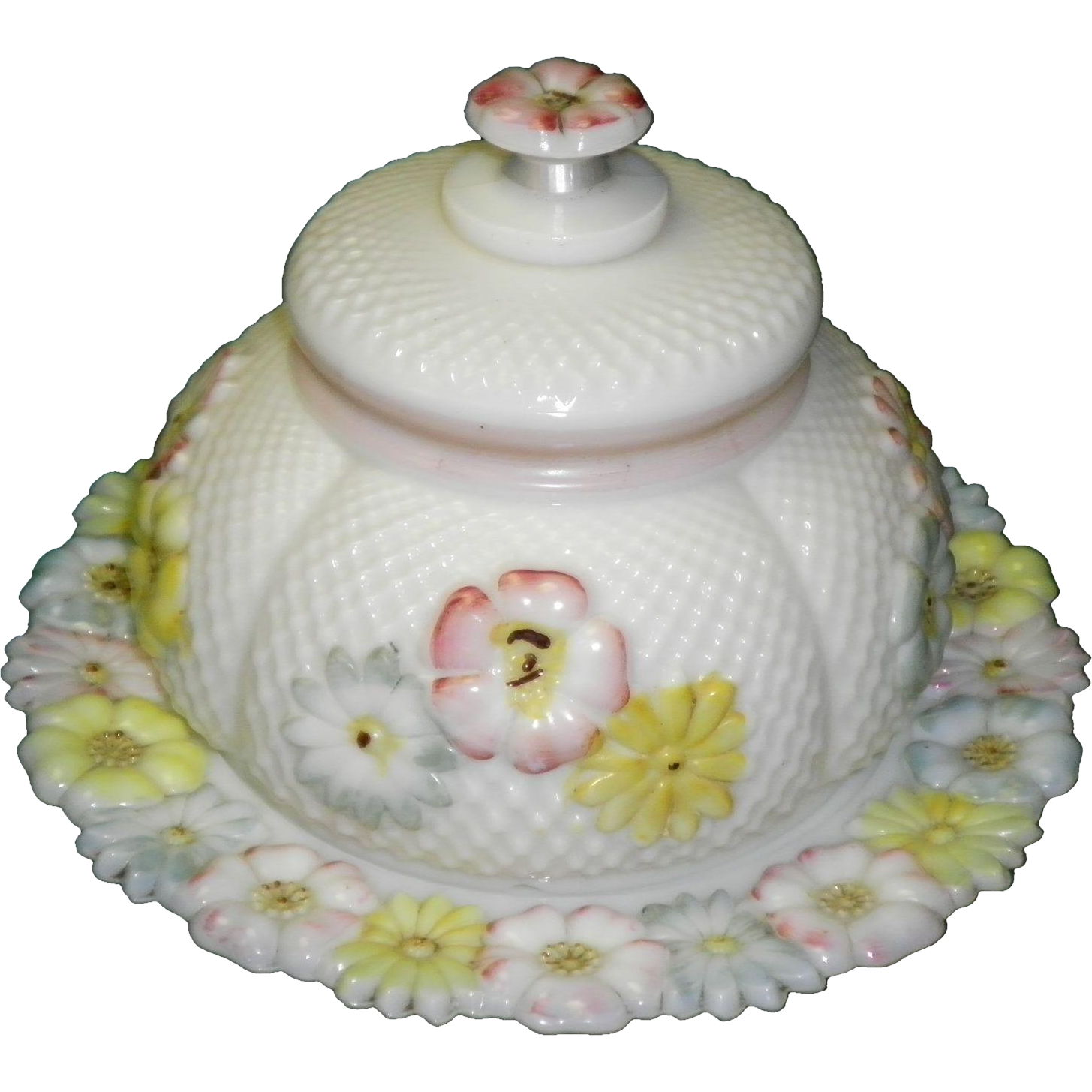 Consolidated Glass Cosmos Milkglass Covered Butter Dish