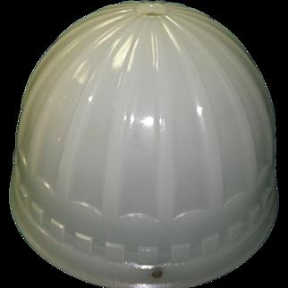 1914 Brascolite Luminous Unit Milk Glass Industrial Light Fixture Shade Dome